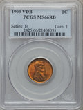 Lincoln Cents: , 1909 VDB 1C MS66 Red PCGS. PCGS Population (2029/220). NGC Census:(1448/107). Mintage: 27,995,000. Numismedia Wsl. Price f...