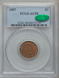 Indian Cents, 1907 1C AU58 PCGS. CAC. PCGS Population (55/224). NGC Census:(9/326). Mintage: 108,138,616. Numismedia Wsl. Price for prob...