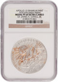 Explorers:Space Exploration, Apollo 13 Unflown PF64 Ultra Cameo NGC Franklin Mint Silver Medal Directly from the Personal Collection of Mission Commander J...