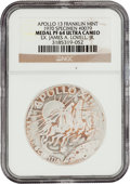 Explorers:Space Exploration, Apollo 13 Unflown PF64 Ultra Cameo NGC Franklin Mint Silver MedalOriginally from the Personal Collection of Mission Commander...
