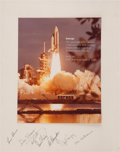 Explorers:Space Exploration, Space Shuttle Columbia (STS-1) Large Color Photo Signed on the Matby the KSC Astronaut Support Team....