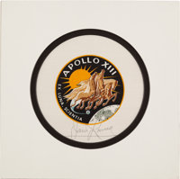 Apollo 13 Flown Beta Cloth Mission Insignia Directly from the Personal Collection of Mission Commander James Lovell, Sig...