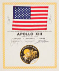 Explorers:Space Exploration, Apollo 13 Flown American Flag on a Crew-Signed Certificate, Directly from the Personal Collection of Mission Commander James L...