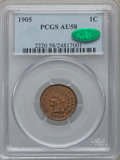 Indian Cents, 1905 1C AU58 PCGS. CAC. PCGS Population (25/182). NGC Census:(11/234). Mintage: 80,719,160. Numismedia Wsl. Price for prob...