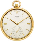 Timepieces:Pocket (post 1900), Rolex Gent's 18k Gold Pocket Watch, circa 1959. ...