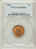Lincoln Cents: , 1926 1C MS64 Red and Brown PCGS. PCGS Population (105/37). NGCCensus: (77/41). Mintage: 157,088,000. Numismedia Wsl. Price...