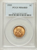Lincoln Cents: , 1933 1C MS64 Red PCGS. PCGS Population (224/785). NGC Census:(65/412). Mintage: 14,360,000. Numismedia Wsl. Price for prob...