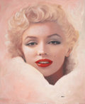 Pin-up and Glamour Art, RON LESSER (American, 20th Century). Milk and Honey, MarilynMonroe. Oil on panel. 30 x 25 in.. Signed lower right. ...