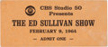 Music Memorabilia:Tickets, The Beatles First Appearance Ed Sullivan Show Unused VIP Ticketdated February 9, 1964 (CBS, 1964)....