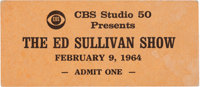 The Beatles First Appearance Ed Sullivan Show Unused VIP Ticket dated February 9, 1964 (CBS, 1964)