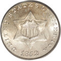 Three Cent Silver: , 1852 3CS MS67 PCGS. A splendid Type One coin that has thick mintfrost over each side and virtually flawless gold-gray surf...