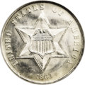 Three Cent Silver: , 1863 3CS MS66 NGC. Fully brilliant with gleaming, satiny surfaces.A mere 21,000 business strikes were produced of this Civ...