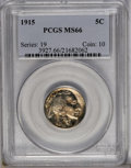 1915 5C MS66 PCGS. This early Buffalo nickel has a golden patina with red undertones. The satiny fields contrast with th...