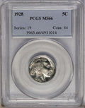 1928 5C MS66 PCGS. Frosty luster covers the largely untoned surfaces, which are accented by light blue toning. The strik...