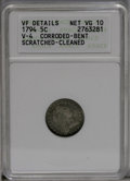 Early Half Dimes: , 1794 H10C --Corroded, Bent, Scratched, Cleaned--ANACS. VF Details,Net VG10. V-4, LM-4, R.4. A nicely detailed cream-gray ex...