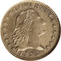 Early Half Dimes: , 1795 H10C --Cleaned--ANACS. AU55 Details. V-5, LM-8, R.3. Themedium gray surfaces reveal a number of crisscrossing adjustme...