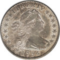 Early Half Dimes: , 1796 H10C AU58 PCGS. V-1, LM-1, R.3. Labeled as a LIKERTY varietyby PCGS, but the serifs of the B, while delicate, remain ...