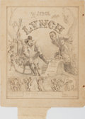 Books:Prints & Leaves, [Judge Lynch]. Original Signed 19th Century Pencil Drawing,Partially Inked. Approx. 11.5 x 9 inches. Toning and fox...