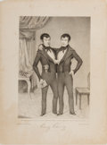 Books:Prints & Leaves, [Siamese Twins]. Lithographic Print Entitled, Eng-Chang.John M. Elliott, 1839. Approx. 14 x 10.25 inches. Toning an...