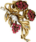 Estate Jewelry:Brooches - Pins, Retro Diamond, Ruby, Gold Brooch. ...