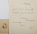 Autographs:Statesmen, Gideon Welles Document Signed and Carte de Visite. ...(Total: 2 )