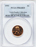 Proof Lincoln Cents: , 1951 1C PR64 Red PCGS. Ex: Teich Family Collection. PCGS Population(348/856). NGC Census: (123/678). Mintage: 57,500. Numi...