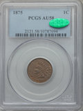 Indian Cents, 1875 1C AU58 PCGS. CAC. PCGS Population (36/84). NGC Census:(33/170). Mintage: 13,528,000. Numismedia Wsl. Price for probl...