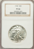 Proof Walking Liberty Half Dollars: , 1940 50C PR66 NGC. NGC Census: (767/391). PCGS Population(806/326). Mintage: 11,279. Numismedia Wsl. Price for problemfre...
