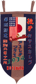 Baseball Collectibles:Others, 1934 Tour of Japan Pennant Presented to Joseph Cascarella....