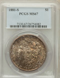 Morgan Dollars: , 1881-S $1 MS67 PCGS. PCGS Population (1593/99). NGC Census:(4016/196). Mintage: 12,760,000. Numismedia Wsl. Price for prob...