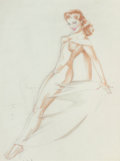 Pin-up and Glamour Art, ALBERTO VARGAS (American, 1896-1982). Varga Girl, nudestudy. Pencil and watercolor on paper. 24 x 18 in. (image). Nots...
