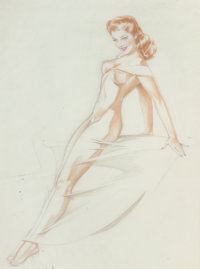 ALBERTO VARGAS (American, 1896-1982) Varga Girl, nude study Pencil and watercolor on paper 24 x 1