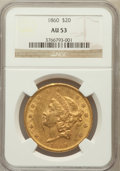 Liberty Double Eagles: , 1860 $20 AU53 NGC. NGC Census: (101/414). PCGS Population (70/191).Mintage: 577,670. Numismedia Wsl. Price for problem fre...