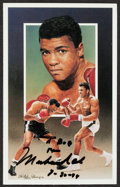 Boxing Collectibles:Autographs, Muhammad Ali Signed Art Postcard....
