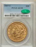 Liberty Double Eagles: , 1869-S $20 AU55 PCGS. CAC. PCGS Population (73/111). NGC Census:(269/352). Mintage: 686,750. Numismedia Wsl. Price for pro...
