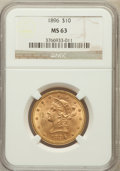 Liberty Eagles: , 1896 $10 MS63 NGC. NGC Census: (212/20). PCGS Population (131/9).Mintage: 76,200. Numismedia Wsl. Price for problem free N...