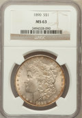 Morgan Dollars: , 1890 $1 MS63 NGC. NGC Census: (6662/4357). PCGS Population(5977/3950). Mintage: 16,802,590. Numismedia Wsl. Price for prob...