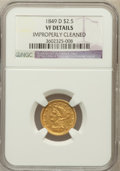 Liberty Quarter Eagles: , 1849-D $2 1/2 -- Improperly Cleaned -- NGC Details. VF. NGC Census:(0/130). PCGS Population (3/109). Mintage: 10,900. Numi...