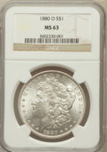 Morgan Dollars: , 1880-O $1 MS63 NGC. NGC Census: (1869/1032). PCGS Population(2232/1231). Mintage: 5,305,000. Numismedia Wsl. Price for pro...