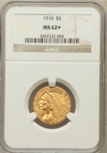 Indian Half Eagles, 1910 $5 MS62+ NGC. NGC Census: (2028/1265). PCGS Population(1478/843). Mintage: 604,250. Numismedia Wsl. Price for problem...