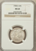 Barber Quarters: , 1908-D 25C MS64 NGC. NGC Census: (48/25). PCGS Population (51/33).Mintage: 5,788,000. Numismedia Wsl. Price for problem fr...