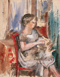 Impressionism & Modernism:post-Impressionism, JEAN DUFY (French, 1888-1964). Femme à la couture. Gouacheand pencil on paper . 20-1/4 x 16 inches (51.4 x 40.6 cm). Si...