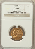 Indian Half Eagles: , 1913-S $5 AU55 NGC. NGC Census: (360/1018). PCGS Population(167/476). Mintage: 408,000. Numismedia Wsl. Price for problem ...