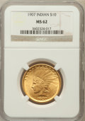 Indian Eagles: , 1907 $10 No Periods MS62 NGC. NGC Census: (1663/2123). PCGSPopulation (1713/2100). Mintage: 239,400. Numismedia Wsl. Price...
