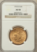 Indian Eagles: , 1910-S $10 AU58 NGC. NGC Census: (608/474). PCGS Population(405/625). Mintage: 811,000. Numismedia Wsl. Price for problem ...