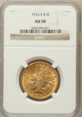 Indian Eagles: , 1916-S $10 AU58 NGC. NGC Census: (258/436). PCGS Population(226/491). Mintage: 138,500. Numismedia Wsl. Price for problem ...
