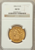 Liberty Eagles: , 1856-S $10 AU55 NGC. NGC Census: (68/51). PCGS Population (22/19).Mintage: 68,000. Numismedia Wsl. Price for problem free ...