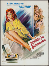 """Never on Sunday (Lopert, 1960). French Affiche (23.5"""" X 31.5""""). Comedy"""