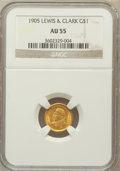 Commemorative Gold: , 1905 G$1 Lewis and Clark AU55 NGC. NGC Census: (20/1252). PCGSPopulation (69/1989). Mintage: 10,000. Numismedia Wsl. Price...