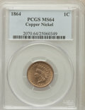Indian Cents: , 1864 1C Copper-Nickel MS64 PCGS. PCGS Population (490/131). NGCCensus: (393/127). Mintage: 13,740,000. Numismedia Wsl. Pri...